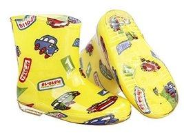 Cute Starry Kids' Rain Boots Yellow Car Children Rainy Days Shoes 20CM