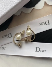 Authentic Christian Dior Mise En Dior Pearl CD Logo Earrings Gold Mint image 5