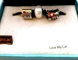 """Vintage  Silver Tone BELLA PERLINA  """" I LOVE CATS"""" PANDORA COLLECTION BR... - $41.99"""