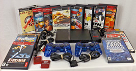 PlayStation 2 Slim Console + 2 Controllers + Memory Cards + 15 Games Bun... - $99.00