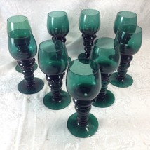 Set of 9 Roemer German Green Wine Glasses Goblets Raspberry Prunts Lot - $65.96