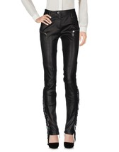 Vintage Stylish Designer Fringed Bottom Women's Genuine Soft Skin Leather Pants