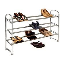 Seville Classics 3-Tier Expandable 24-Pair Non-Slip Metal Frame Shoe Storage Rac