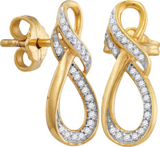 10kt Yellow Gold Womens Round Diamond Infinity Screwback Earrings 1/6 Cttw - $149.99