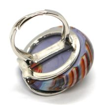 Ring Antica Murrina, Murano Glass, Disco Convex, Thousand Righe, Purple Pink image 3