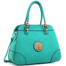 Dasein Fashion Leather Gold Emblem Fashion Satchel, Shoulder Bag, Handba... - $49.99