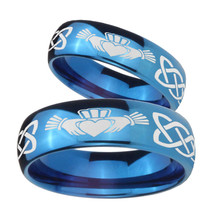 Bride and Groom Irish Claddagh Dome Blue Tungsten Carbide Rings for Men Set - $79.98