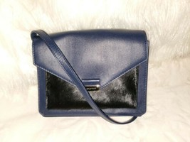 Cole Haan Deep Navy Blue Leather Pony Hair Fur Small Shoulder Cross Body... - $41.87