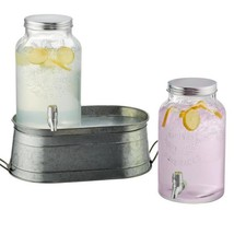 Farmhouse Beverage Dispenser set with Galvanized stand and Two 1.5 Gal. ... - £64.51 GBP
