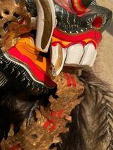 "Vintage Asian Tribal Mask Hand Carved Wood Wall Art East Java Indonesia 41x11"" image 11"