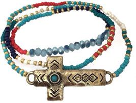 Gypsy Jewels Multi Color Seed Bead Gold Tone Sideways Cross Wrap Stretch... - $51.97