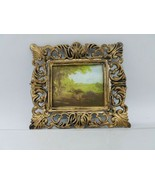Vintage Dollhouse miniature Framed Countryside Art Scene Made in HONG KONG  - $11.87