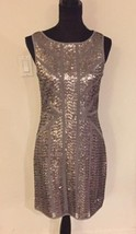 VINCE CAMUTO Silver Sequin Dress w/Ribbon Trim Throughout ( Sz - 6 ) NWT... - $67.32
