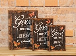 """Good Health is the Best Health"" Decorative Book Boxes Diversion Safe Se... - $24.74"