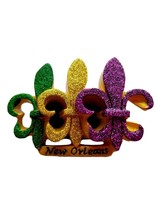 Purple Green Gold Glitter Fleur De Lis Mardi Gras Magnet Party Favor - $4.49