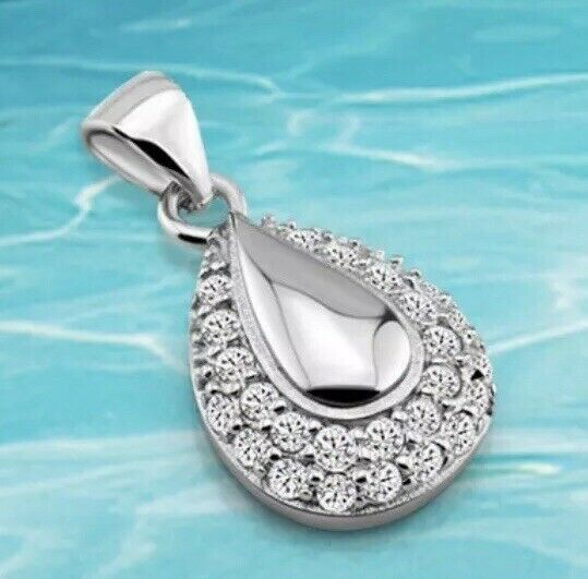 Primary image for 925 Sterling silver teardrop Cubic Zirconium pendant necklace [PEN-24]