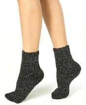 Charter Club Women's 1-Pair Metallic Black Silver Fuzzy Cozy Socks Sz 9-11 NEW image 3