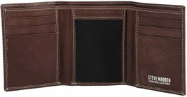 Steve Madden Premium Leather Trifold Credit Card ID Brown Wallet N80002-01 image 2