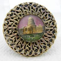 Vintage Gold Tone Filigree Washington DC Glass Dome Souvenir Pin Brooch - $39.60