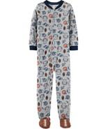 Boys Carters Fleece Footed pajama Blanket Sleeper 7 8 10 12 14 Sports Fo... - $23.74