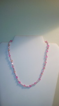 Handmade Pink Freshwater Pearl & Crackle Glass Beaded Necklace - $7.99