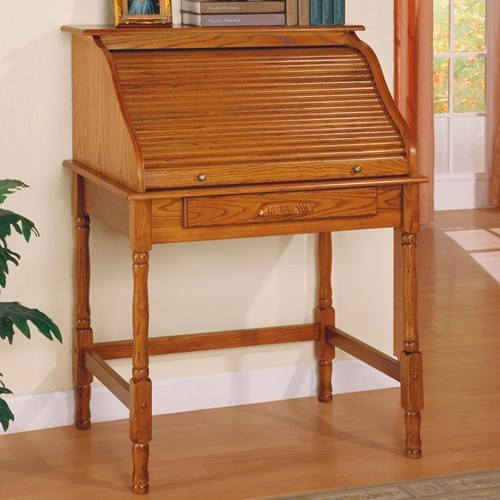 Small Roll Top Secretary Desk Warm Honey