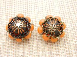 HONG KONG Orange Plastic Bead Black Enamel Chain Link Clip Earrings Vintage - $19.80
