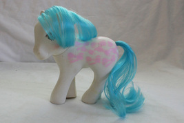 "1987 Vintage My Little Pony ""Fifi - Perm Shoppe"" White w/ Blue Hair & Pink Bows - $10.99"