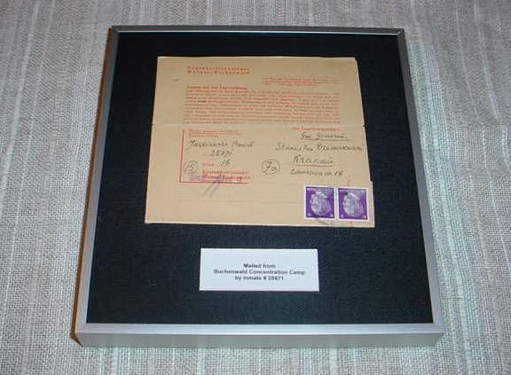 Germany Buchenwald Concentration Camp Letter Inmate #25871 Archival Framed