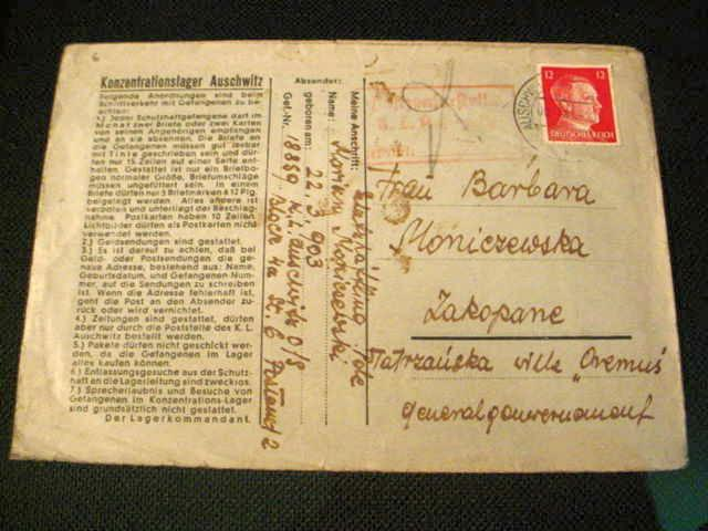 1941 Poland Auschwitz Concentration Camp Letter Inmate #18859 Archival Framed