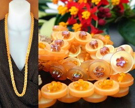 Vintage Buttons Necklace Strand Yellow Orange Beads Plastic Lucite AB - $18.95