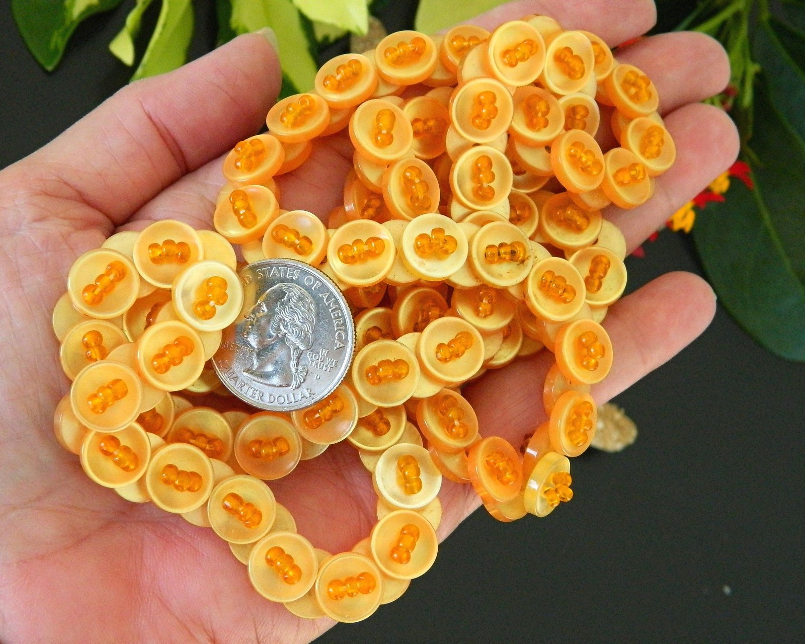 Vintage Buttons Necklace Strand Yellow Orange Beads Plastic Lucite AB