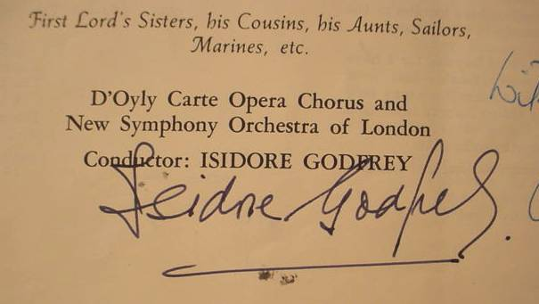 H.M.S. PINAFORE D'OYLY CARTE OPERA I. GODFREY LP BOX - Autographs Letters Extras