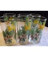 Vintage Glasses Retro 60s Leaf pattern - $14.85