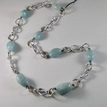 ALUMINUM NECKLACE WITH BLUE AQUAMARINE HAND-MADE IN ITALY 23 INCHES LONG image 3