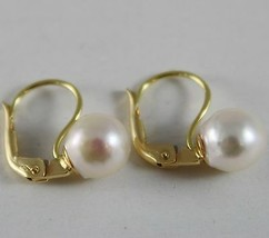 SOLID 18K YELLOW GOLD LEVERBACK EARRINGS WITH AKOYA PEARLS 8 MM, MADE IN ITALY image 1