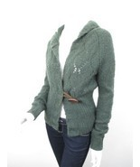 Free People Green Wool Blend Hooded Single Button Cardigan Sweater MEDIUM M - £19.82 GBP