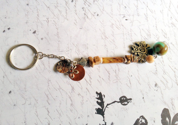 Tan Beaded Thunderbird Charm Keychain Repurposed Vintage Beads Jewelry Accessory