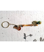 Tan Beaded Thunderbird Charm Keychain Repurpose... - $6.50