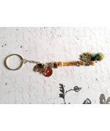 Tan Bead Thunderbird Keychain Repurposed Vintag... - $10.00