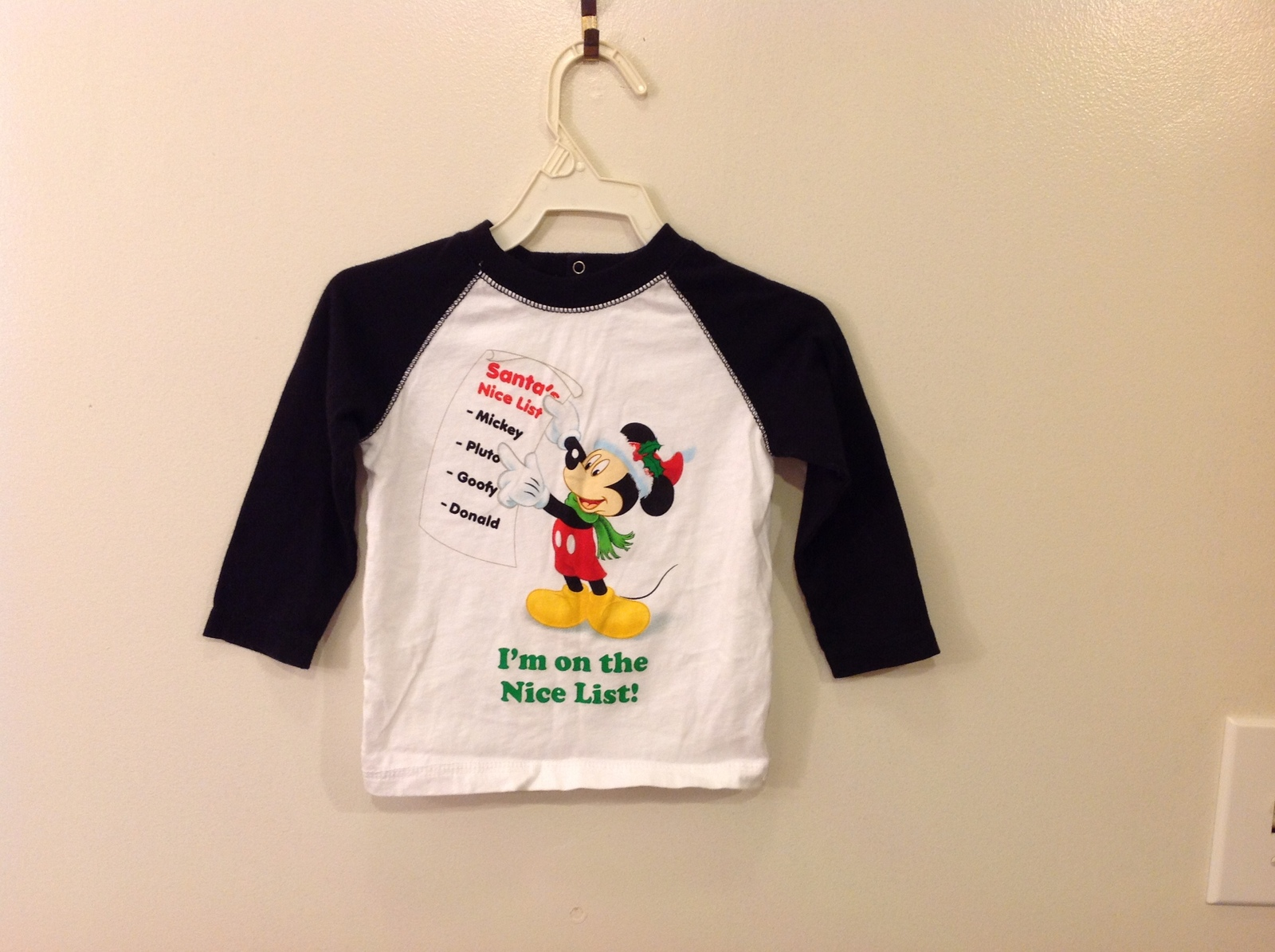 Disney Baby Mickey Mouse with List White/Black Long Sleeve 100% Cotton T-shirt