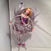 American Silkflower Collection, Purple Skirt Hanging Angel Silver decora... - $34.99