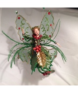 American Silkflower Collection, Green Red Berries Hanging Fairy Angel wi... - $34.99