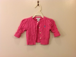 Ralph Lauren Baby Girl Pink Knitted 100% Cotton Sweater size 3 month