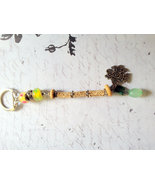 Green Repurposed Vintage Beaded Thunderbird Key... - $6.50