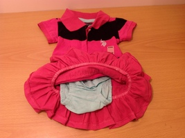 U.S. POLO Ralph Lauren Baby Girl Pink Black Dress with Panties size 6-9 month image 5