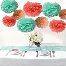 Saitec ® Pack of 18PCS Mixed Coral Peach Mint Party Tissue Pom Poms Pape... - $465,55 MXN