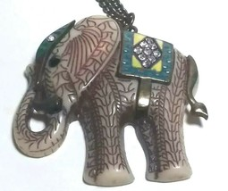 REAL COLLECTIBLES BY ADRIENNE RHINESTONE ACRYLIC LUCKY ELEPHANT TRIBAL N... - $40.00