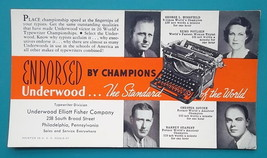UNDERWOOD Typewriter Endorsed by Typist Champions - 1940s INK BLOTTER AD - $8.10