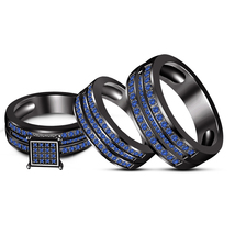 His & Hear Black Gold Fn Blue Sapphire Engagement Wedding Ring Set Free Shipping - $145.33